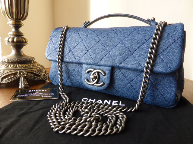 Chanel 'Easy/Casual Journey' East West Flap in Blue Caviar with Ruthenium H