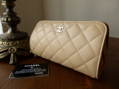 Chanel Make Up Bag in Beige Lambskin with Shiny Silver Hardware
