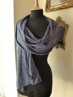 Mulberry Degrade Knitted Scarf / Wrap in Moonlight Blue - New