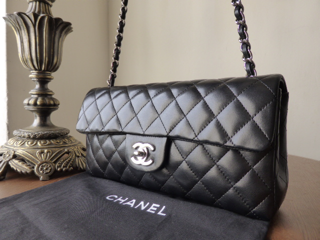 Chanel East West Quilted Flap in Black Lambskin with Silver Hardware