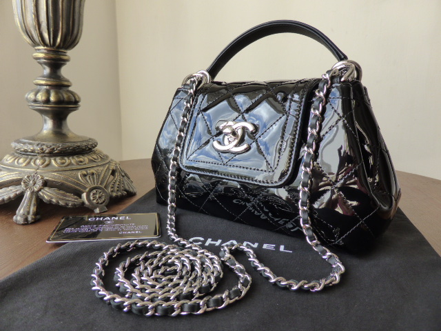 Chanel Mini Concertina Flap in Black Patent with Silver Hardware