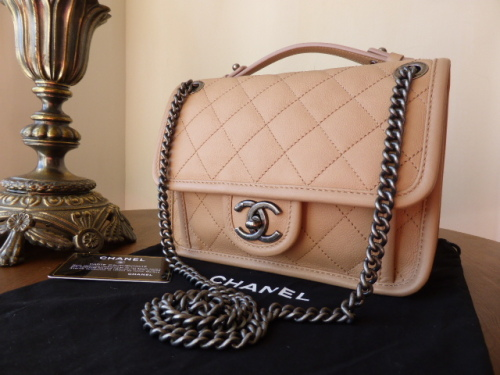 Chanel French Riviera in Beige Quilted Calfskin with Ruthenium Hardware - N