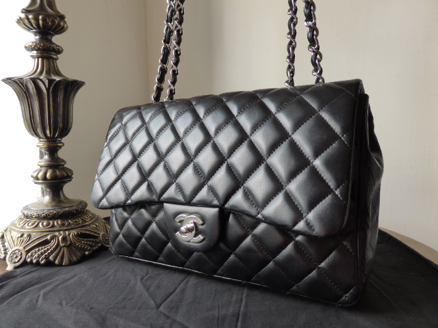 Chanel Jumbo Flap Bag in Black Lambskin with Shiny Silver Hardware
