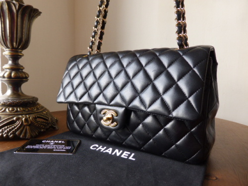 Chanel Classic 10 Medium Black Lambskin 2 55 Flap Bag With Gold Hardware Sold