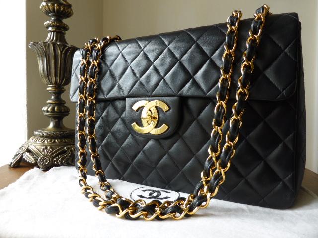Chanel Maxi XL Jumbo Flap Bag in Black Lambskin with Gold Hardware