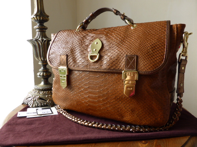 Mulberry Oversized Tillie Satchel in Oak Silky Snake with Bronze Metallic T