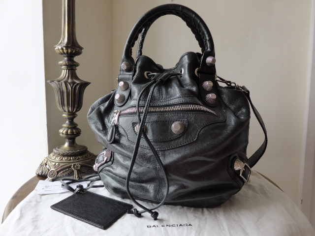 Balenciaga Giant 21 PomPon in Black with Silver Hardware