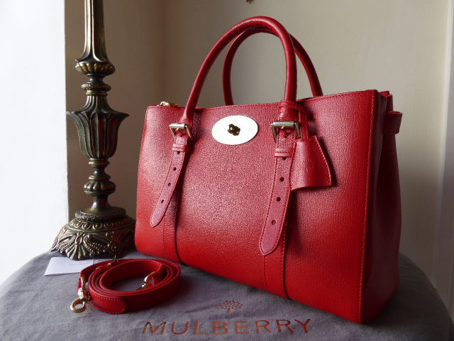 Mulberry Double Zip Bayswater Tote in Red Shiny Goat Leather - As New*