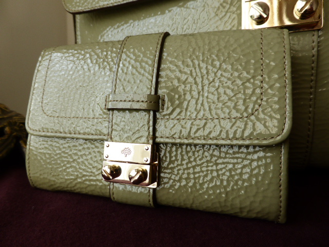 Mulberry Harriet Purse in Summer Khaki Spongy Patent Leather -  New