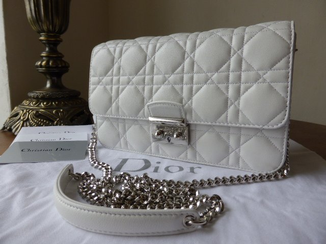 Dior Promenade Shoulder Clutch in White Lambskin with Silver Hardware - New