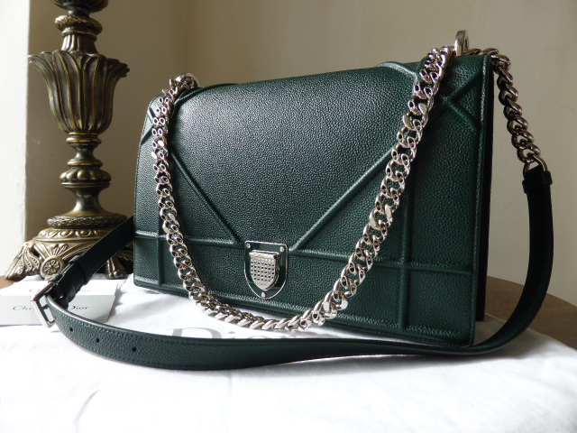 Dior Diorama Large Graphic Flap in Forest Green - As New