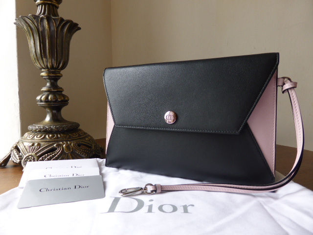 Dior Addict Envelope Clutch in Black and Baby Pink Colourblock Calfskin