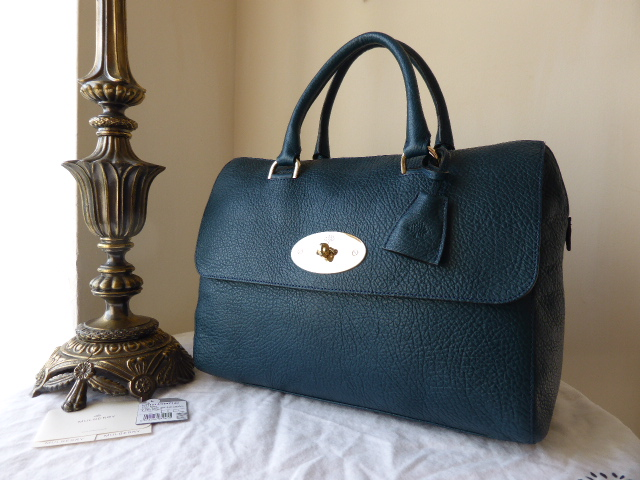 Mulberry Del Rey (Larger Sized) in Petrol Vegetable Tanned Lambskin