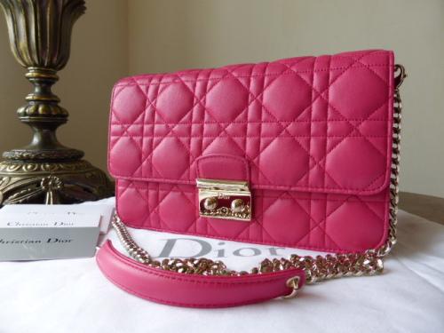 c21d2be93114 Dior Promenade Shoulder Clutch in Fucshia Lambskin with Gold Hardware - As