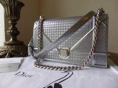 Dior Diorama Medium Graphic Flap in Silvertone Perforated Calfskin - As New 1eb64e43e4add