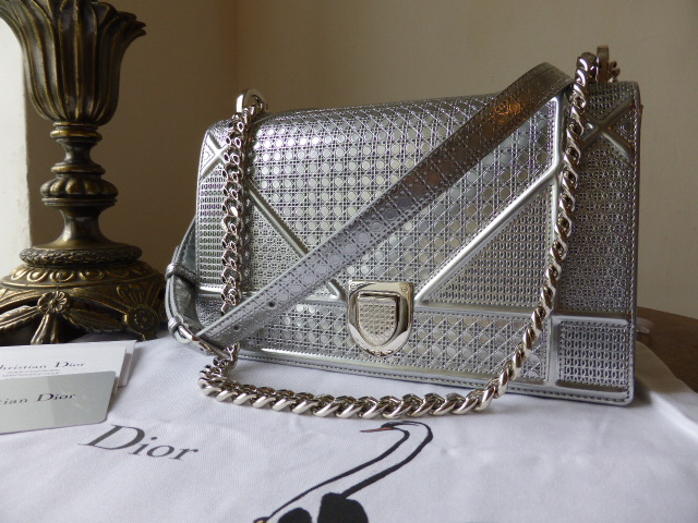Dior Diorama Medium Graphic Flap in Silvertone Perforated Calfskin - As New