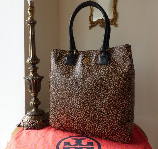 Tory Burch North South Robinson Tote in Leopard Print Saffiano Leather - As