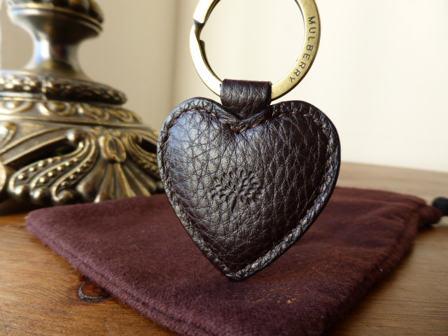 Mulberry Heart Keyring in Chocolate NVT Leather with Brass Hardware