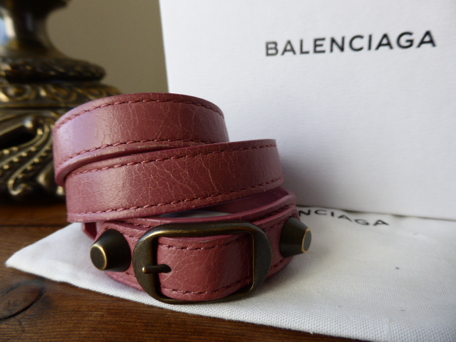 Balenciaga Classic Triple Tour Bracelet Cuff Rose Bruyère (Medium)