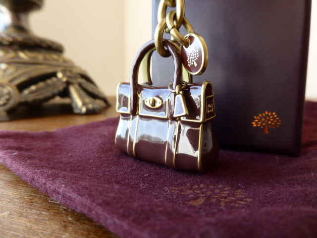 Mulberry Mini Bayswater Keyring Charm in Chocolate Enamel & Gold - New