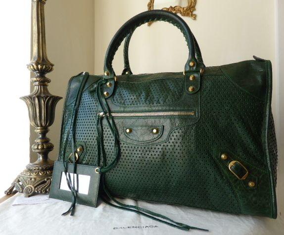 Balenciaga Work in Forest Green Perforated Glazed Lambskin