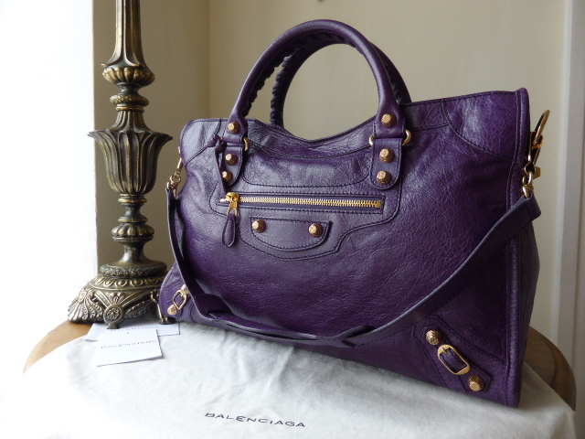 Balenciaga City in Deep Violet Lambskin with Giant 12 Shiny Gold Hardware