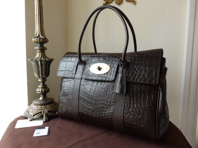 Mulberry Bayswater in Chocolate Vegetable Tanned Printed Leather - As New