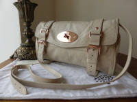 Mulberry Alexa Shoulder Clutch in Petticoat White Soft Buffalo with Rose Gold Hardware