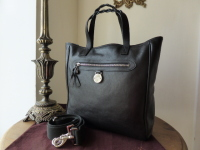 Mulberry Somerset North South Tote in Black Tumbled Leather with Silvertone Hardware