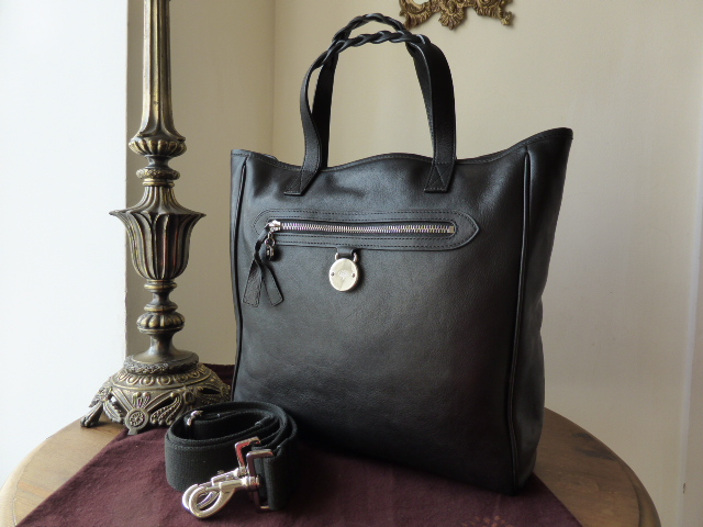 Mulberry Somerset North South Tote in Black Tumbled Leather with Silvertone