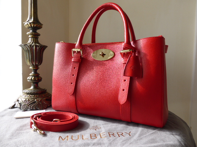 Mulberry Double Zip Bayswater Tote in Red Shiny Goat Leather ref MG - As Ne
