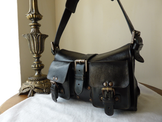 Mulberry Blenheim (Vintage) in Black Antique Glace Leather