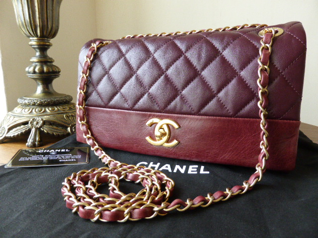 Chanel Medium Soft Elegance Flap in Burgundy Calfskin with Distressed Gold