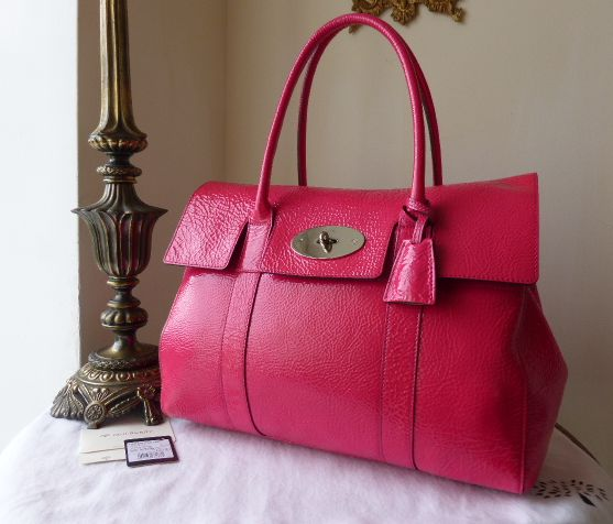 Mulberry Bayswater in Hot Pink Spongy Patent Leather with Silvertone Hardwa