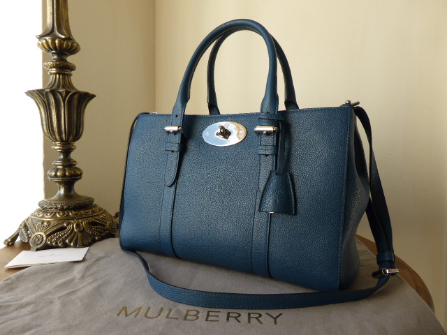 Mulberry Small Bayswater Double Zip Tote in Sea Blue Small Classic Grain Le