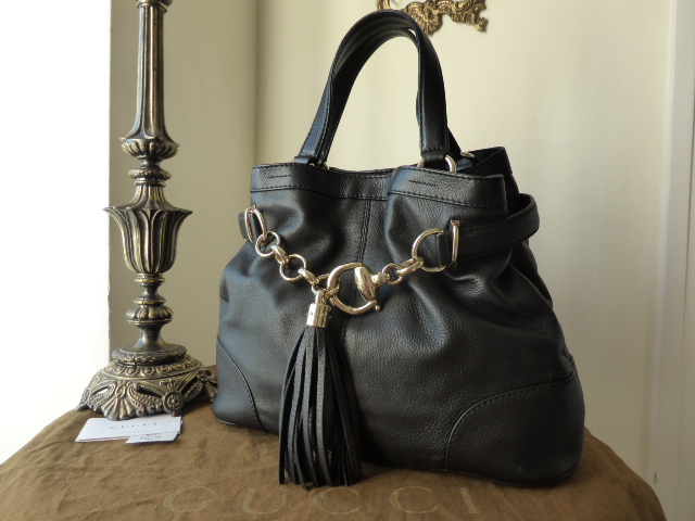 Gucci Sienna Large Tote in Black Calfskin