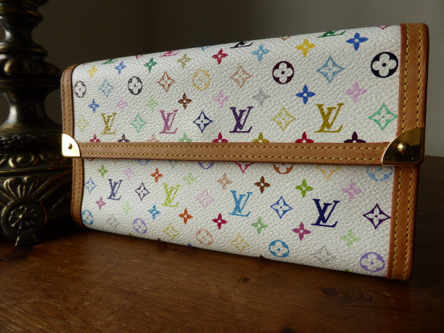 Louis Vuitton White Multicolore International Purse / Wallet (ref K)
