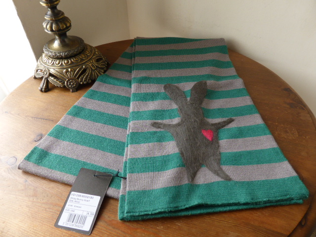 Mulberry Stripy Bunny Knitted Silk & Wook Scarf in Emerald - As New