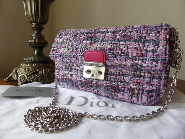 Dior Miss Dior Shoulder Clutch in Lilac Sparkle Tweed with Silver Hardware
