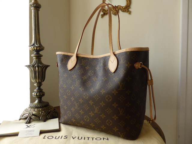 Louis Vuitton Neverfull MM Monogram with Peony Pink Lining & Zip Pouch - Ne