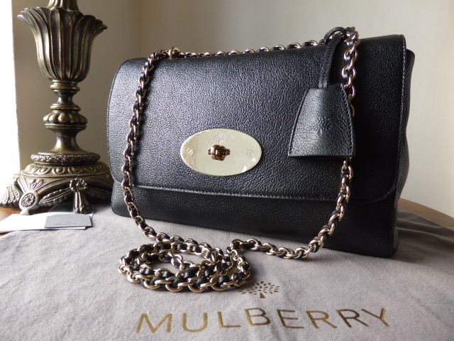Mulberry Lily Medium in Black Glossy Goat with Soft Gold Hardware - New