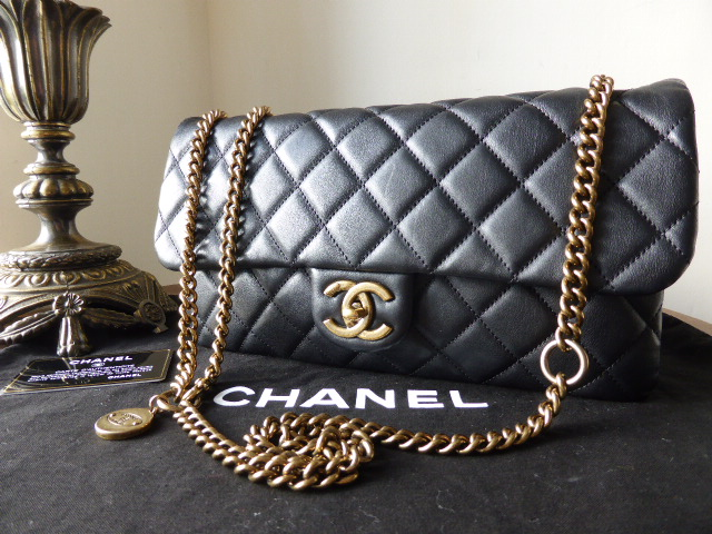 Chanel Crown Flap Bag in Black Calfskin with Aged Gold Hardware - As New