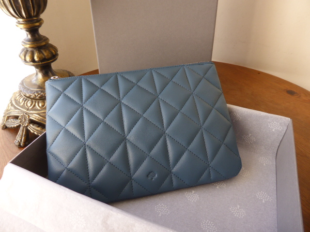 Mulberry Cara Delevingne Small Pouch  Steel Blue Quilted Nappa - New*