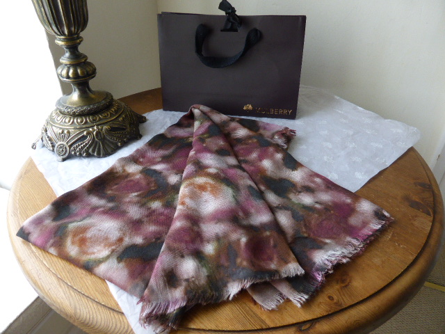 Mulberry Blurry Bloom Square Printed Wrap in Modal & Silk - New