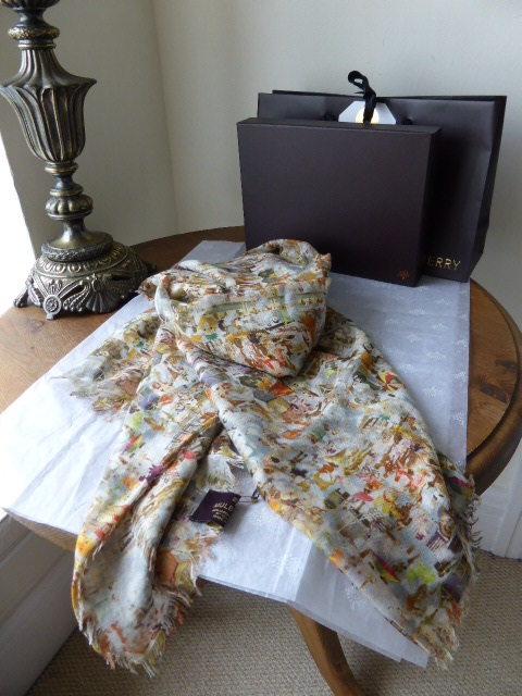 Mulberry Bonkers Beach Square Printed Wrap in Modal & Silk - New