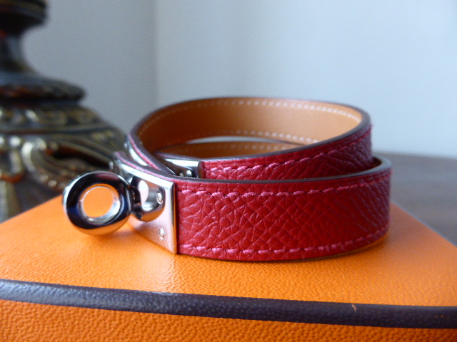 Hermes Kelly Double Tour Epsom leather cuff bracelet in Rouge Casaque with