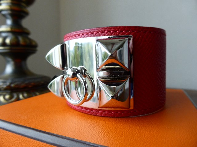 Hermés Cuff Collier De Chien Rouge Casaque Epsom with Palladium Hardware (S