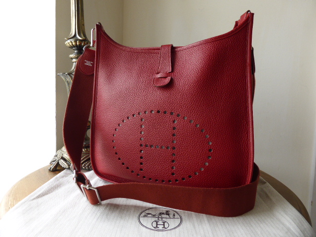 Hermes Evelyne III in Rouge Casaque Clemence Leather with Palladium Hardwar