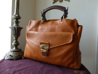 Mulberry Polly Push Lock Tote in Pumpkin Shiny Grain Leather