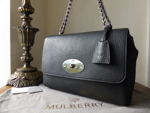 Mulberry Lily Medium in Black Soft Grain Leather with Nickel Hardware - New